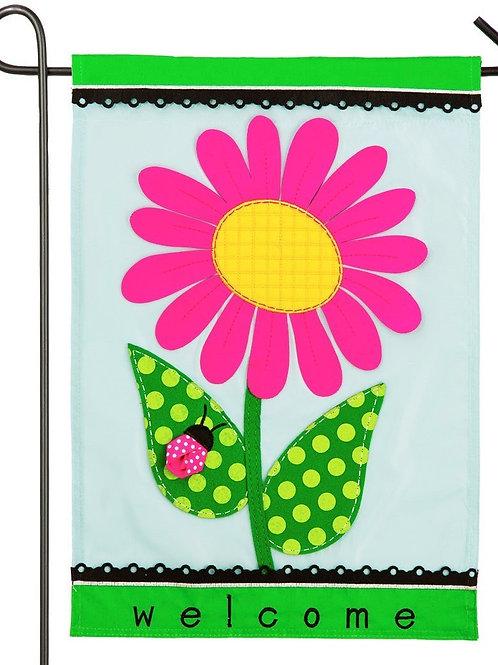"""Welcome Daisy 168631BL Evergreen Applique Garden Flag 12.5"""" x 18"""""""