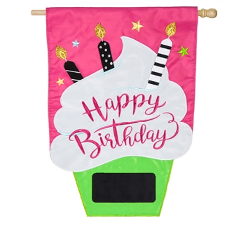 "Birthday Cupcake 158804 Evergreen Applique HOUSE Flag 28"" x 44"""