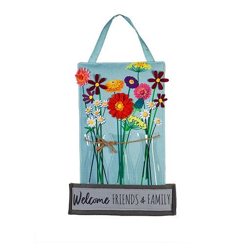 Floral Milk Bottle Trio Door Decor 2DHB1528 Evergreen Door Hanger