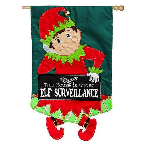 "Elf Surveillance 158569BL Evergreen Applique HOUSE Flag 28"" x 44"""