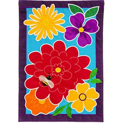 "Springy Flowers 168637 Evergreen Applique Garden Flag 12.5"" x 18"""