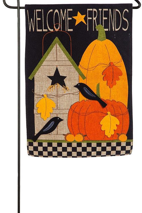 """Welcome Fall Friends 14B4543 Evergreen Burlap Garden Flag 12.5"""" x 18"""""""