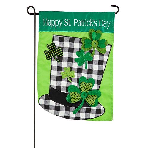 "Plaid St. Patrick's Day Hat 169111 Evergreen Applique Garden Flag 12.5"" x 1;8"""