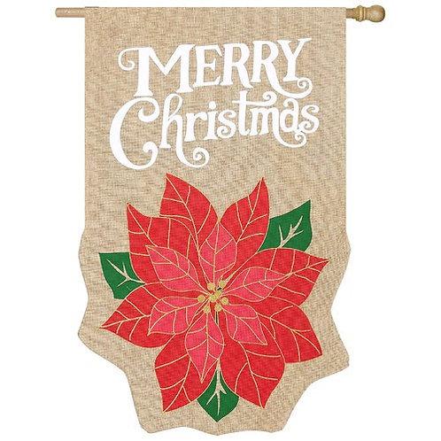 "**OPEN FLAG** Holiday Poinsettia 13B3441BL Evergreen Burlap HOUSE Flag 28"" x 44"""