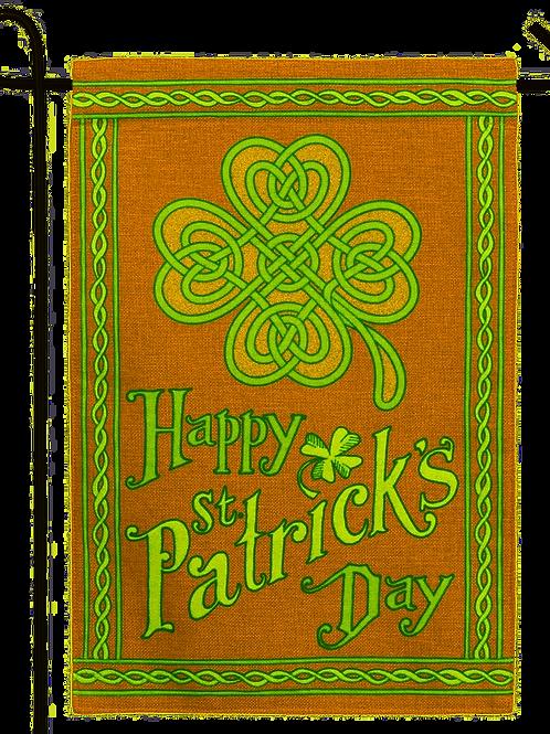 "Happy St Patrick's Day 14B4024BL Evergreen Burlap Garden Flag 12.5"" x 18"""