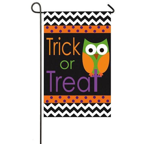 "Trick or Treat Owl 168246 Evergreen Applique Garden Flag 12.5"" x 18"""