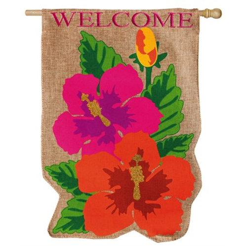 "**OPEN FLAG** Tropical Flowers 13B3389BL Evergreen Burlap HOUSE Flag 28"" x 44"""
