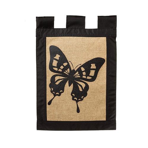 """Butterfly 14B2790BL Evergreen Burlap Garden Flag 12.5"""" x 18"""""""