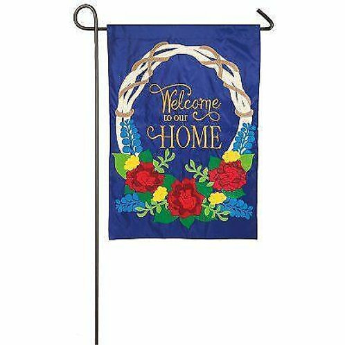"""Welcome Wreath 168615BL Evergreen Applique Garden Flag 12.5"""" x 18"""""""