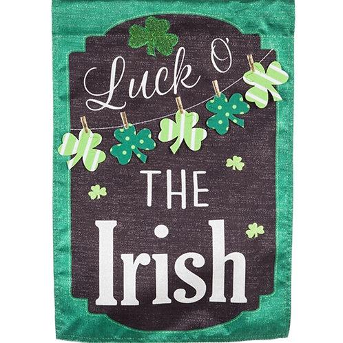"St. Patrick's Day Chalkboard 13L8366BL Evergreen Linen HOUSE Flag 28"" x 44"""