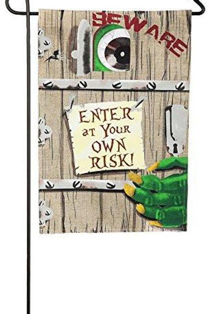 "Enter at Your Own Risk 14B3867 Evergreen Burlap Garden Flag 12.5"" x 18"""