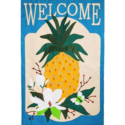 "Summer Pineapple 128607BL Evergreen Applique ESTATE Flag 36"" x 54"