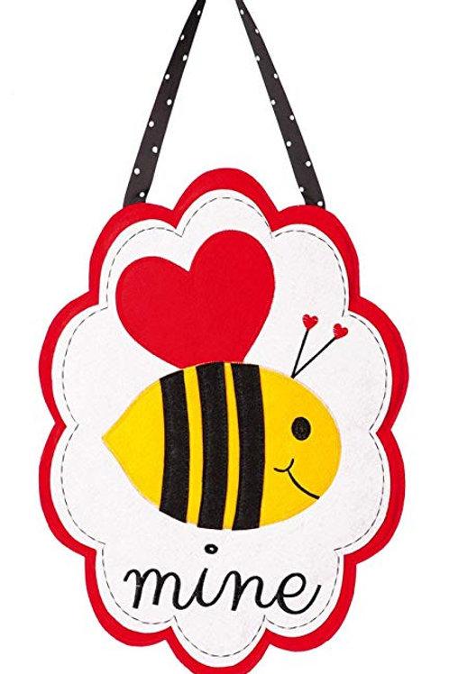 Valentine's Bee Mine Felt Door Decor 2DHF1021 Evergreen Door Hanger