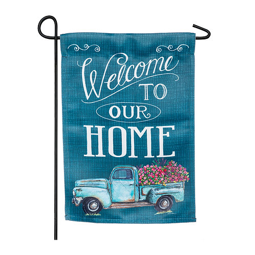 """Floral Truck Welcome 14S8397 Evergreen Suede Garden Flag 12.5""""W x 18""""H"""