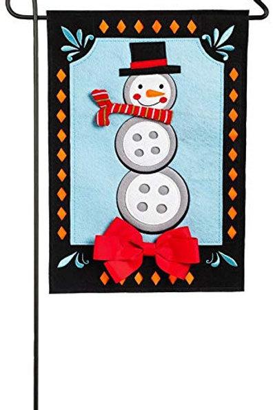 """Snowman 16F8589 Evergreen Felt Garden Flag 12.5' x 18"""""""