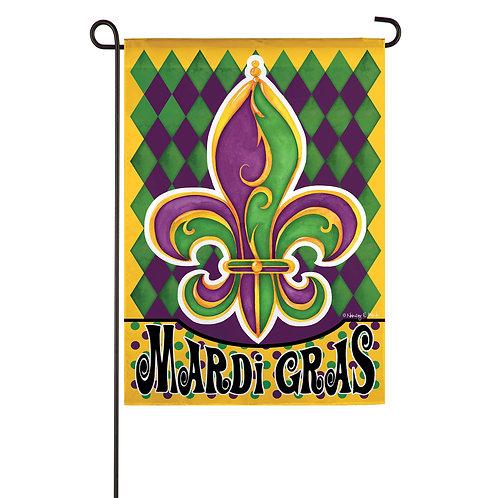 """Mardi Gras Fleur de Lis 14S9448 Evergreen Suede Garden Flag 12.5"""" x 18"""""""