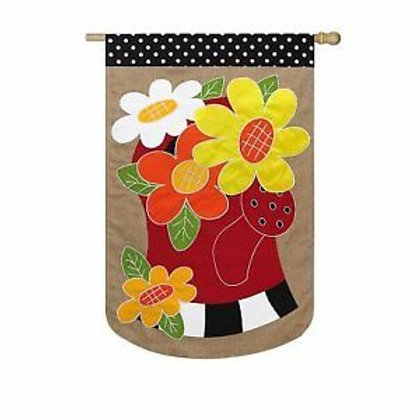 """**OPEN FLAG** Watering Can Flowers 13B3249 Evergreen Burlap HOUSE Flag 28"""" x 44"""""""