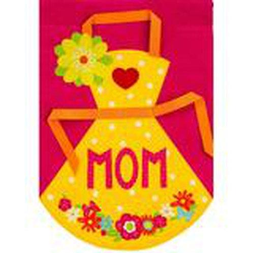 "MOM's Apron 13B4046 Evergreen Burlap HOUSE Flag 28"" x 44"""