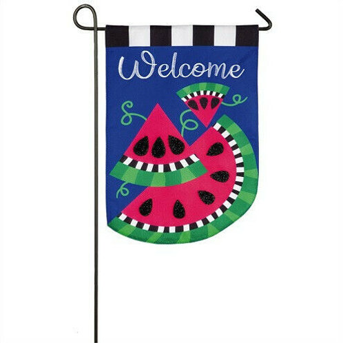 "Watermelon Welcome 14L8505 Evergreen Linen Garden Flag 12.5"" x 18"""