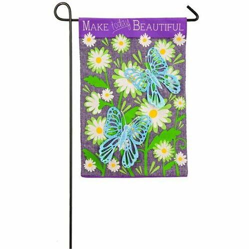 """Butterflies Make Today Beautiful 14B4019BL Burlap Garden Flag Pet 12.5"""" x 18"""""""