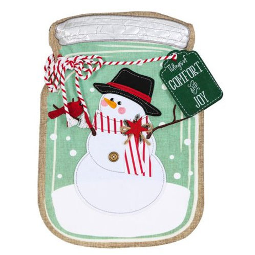 "**OPEN FLAG NO PACKAGING** Mason Jar Snowman 13L8110 Linen HOUSE Flag 28"" x 44"""