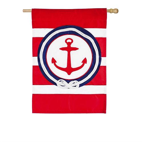"""**OPEN FLAG** Anchor Stripe 158947BL Evergreen Applique HOUSE Flag 28"""" x 44"""""""