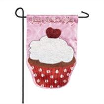 "Valentine's Day Cupcake 14L8372BL Evergreen Linen Flag Garden Flag 12.5"" x 18"""