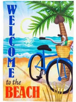 "**OPEN FLAG NO PACKAGING** Beach Bike 13S4450 Evergreen Suede HOUSE Flag 28""x44"""