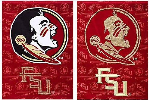 "NCAA Team Sports Florida State Suede GLITTER Garden Flag 12.5"" x 18"""