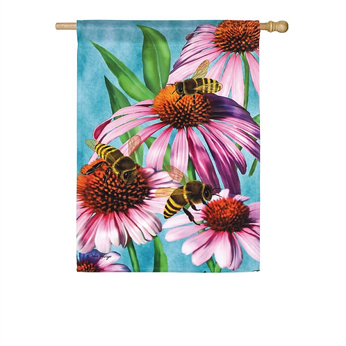 "Bees and Coneflower 13A8545 Evergreen Satin HOUSE Flag 28"" x 44"""