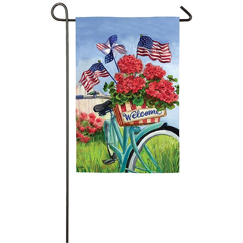 "Patriotic Bicycle 14S4874 Evergreen Suede Garden Flag 12.5"" x 18"""