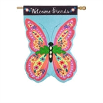 "**OPEN FLAG NO PACKAGING** Butterfly Welcome 13L4813 Linen HOUSE Flag 28"" x 44"""