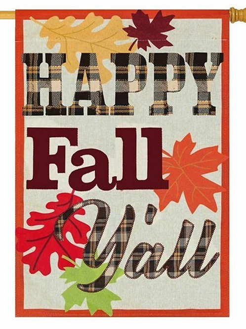"Happy Fall Y'all 13L8153 Evergreen Linen HOUSE Flag 28"" x 44"""
