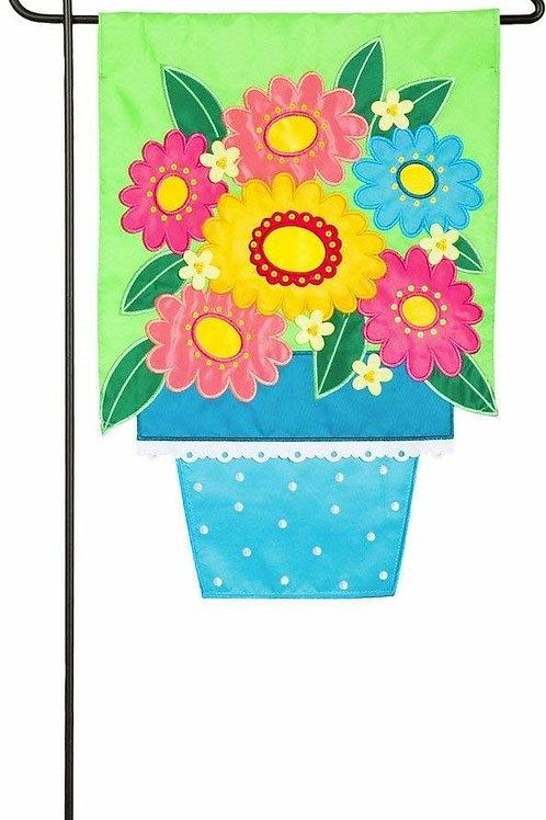 """Flower Pot 168632BL Evergreen Applique Garden Flag 12.5"""" x 18"""""""