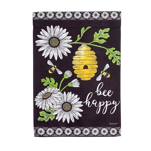 """Bee Happy Hive 14S9891 Evergreen Suede Garden Flag 12.5"""" x 18"""""""