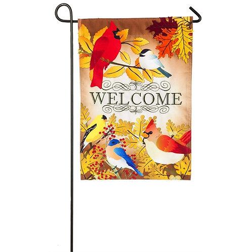 """Autumn Song Bird 14L4504 Evergreen Linen Garden Flag 12.5"""" x 18"""""""