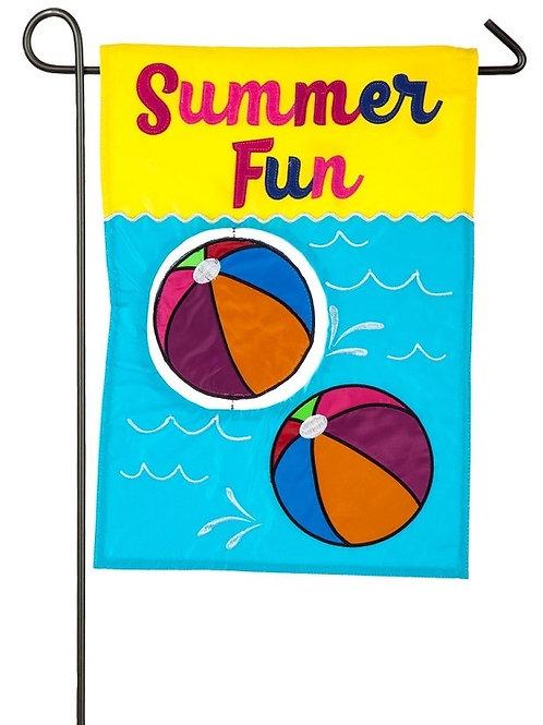 """Beach Balls 168764BL Evergreen Applique Garden Flag 12.5"""" x 18"""""""