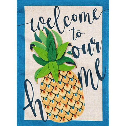 "**OPEN FLAG** Welcome to Our Home Pineapple 13B8523 Burlap HOUSE Flag 28"" x 44"""