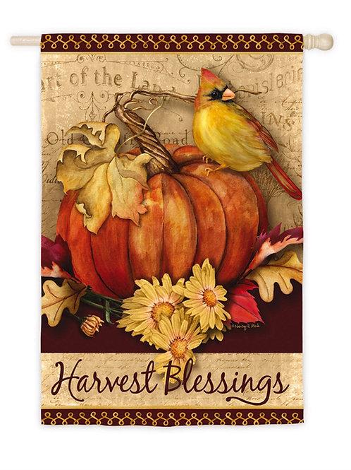 "Pumpkin Harvest 13S3935 Evergreen Suede HOUSE Flag 28"" x 44"""