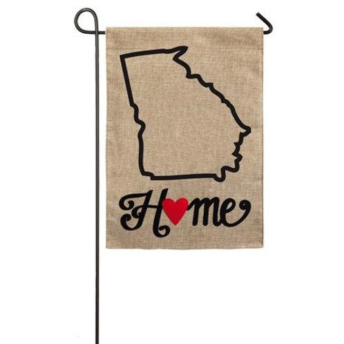 "Georgia State of My Heart 14B4011 Evergreen Burlap Garden Flag 12.5"" x 18"""