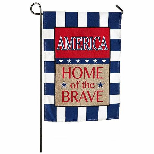 "**OPEN FLAG** American Home of the Brave 14B3372 Burlap Garden Flag 12.5"" x 18"""