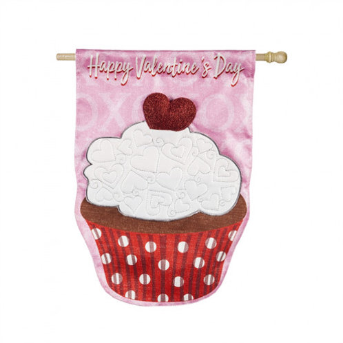 """**OPEN FLAG NO PACKAGING** Valentine's Day Cupcake  Linen HOUSE Flag 28"""" x 44"""""""