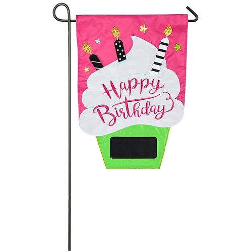 """Birthday Cupcake 168804 Evergreen Applique Garden Flag 12.5"""" x 18"""""""