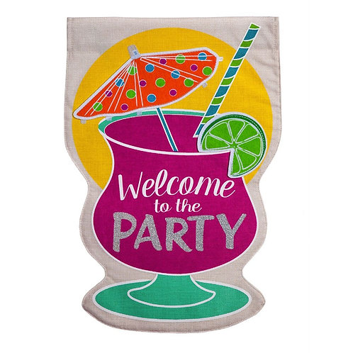 "Party Welcome 14B4411 Evergreen Burlap Garden Flag 12.5"" x 18"""
