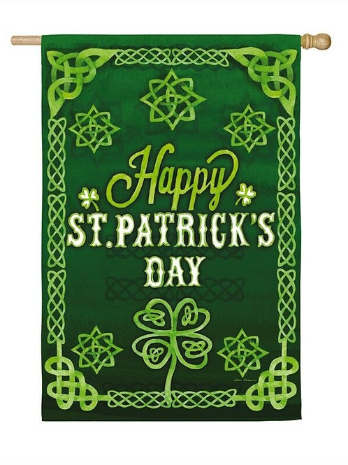 """**OPEN FLAG NO PACKAGING** St. Patrick's Celtic 13S4079 Suede HOUSE Flag 28""""x44"""""""