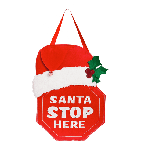 Santa Stop Here LIGHTED Felt Door Décor 2DHF1086BL Evergreen Door Hanger