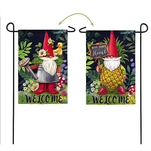 "Gnomes in the Garden 14S9020FB Evergreen Suede Garden Flag 12.5"" x 18"""