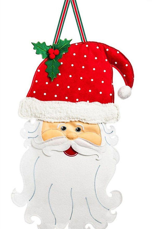 Santa Stop Here Felt Door Decor 2DHF1071 Evergreen Door Hanger
