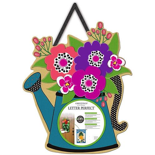 Watering Can Letter Perfect Burlap Door Décor 2DHB1293 Evergreen Door Hanger