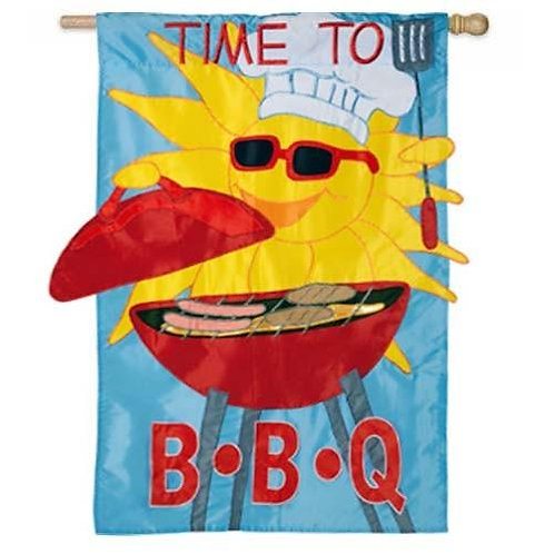 "**OPEN FLAG ** Time to BBQ 167598 Evergreen Applique Garden Flag 12.5"" x 18"""